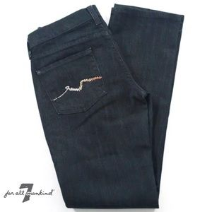 7 FOR ALL MANKIND Blk 5 Pocket Straight Leg Jeans